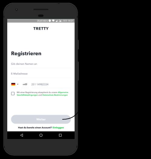How to tretty? Erklärung wie man sich in der tretty app registiert.